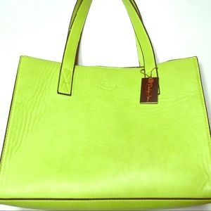 Penelope Ann bright green structured leather purse